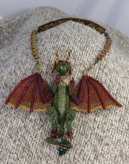 Verdigris dragon necklace